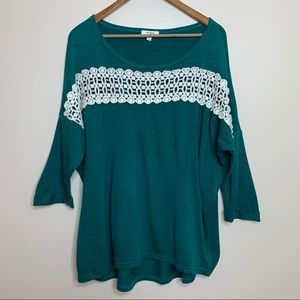 3/$20 Umgee Teal Oversized T Shirt with Sheer Lace